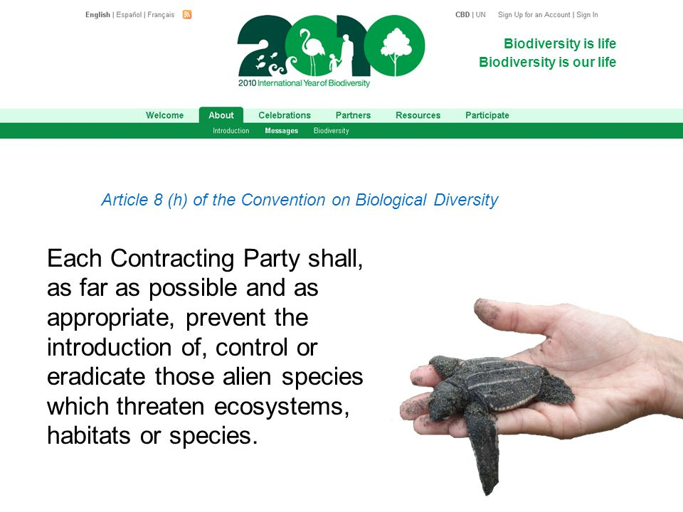 Biodiversity is life Biodiversity is our life Article 8 (h) of the Convention on Biological Diversity Each Contracting Party shall, as far as possible and as appropriate, prevent the introduction of, control or eradicate those alien species which threaten ecosystems, habitats or species.
