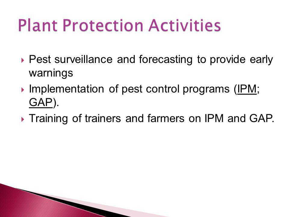 Pest surveillance and forecasting to provide early warnings  Implementation of pest control programs (IPM; GAP).