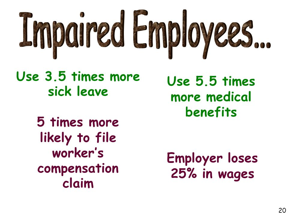 Use 3.5 times more sick leave Use 5.5 times more medical benefits Employer loses 25% in wages 5 times more likely to file worker's compensation claim 20