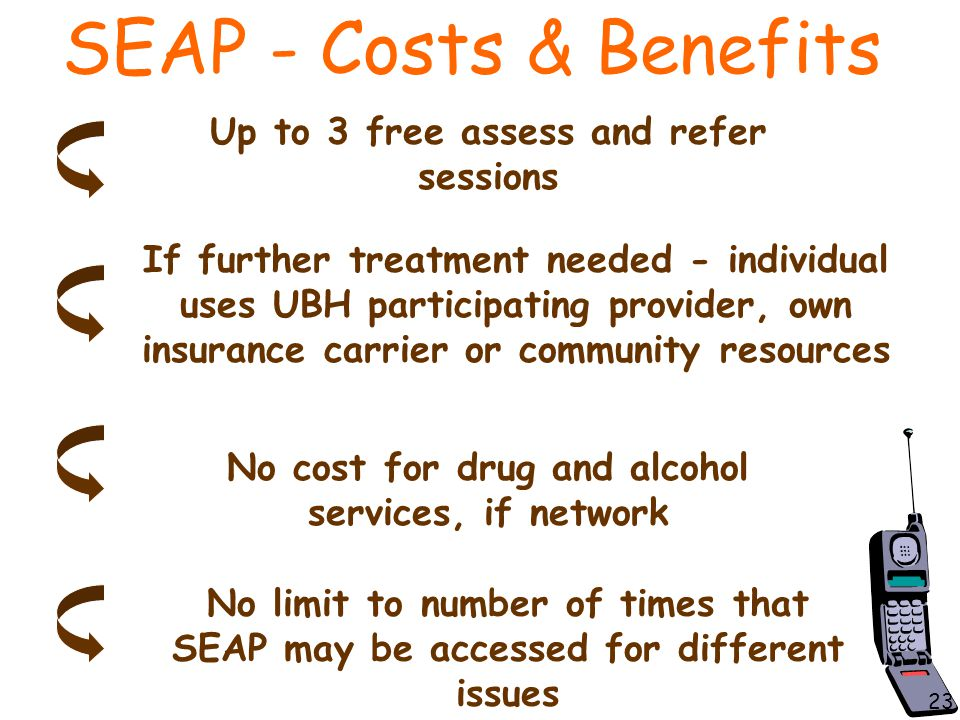 SEAP - Costs & Benefits Up to 3 free assess and refer sessions If further treatment needed - individual uses UBH participating provider, own insurance carrier or community resources No cost for drug and alcohol services, if network No limit to number of times that SEAP may be accessed for different issues 23