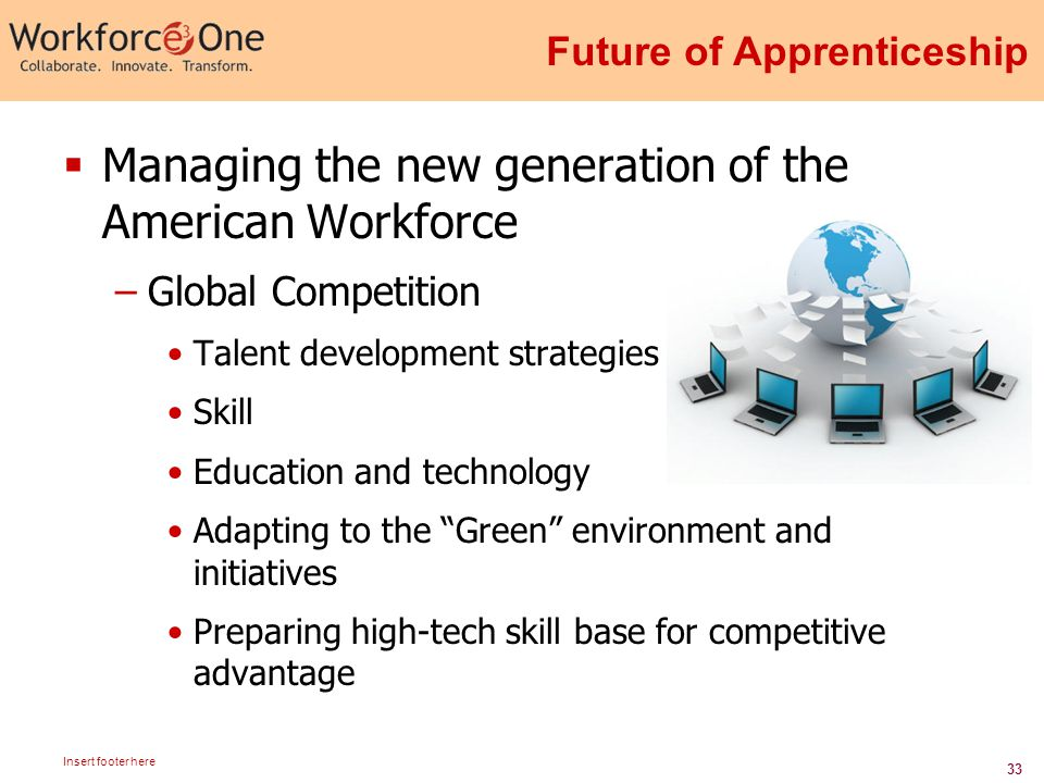 33 Insert footer here Future of Apprenticeship  Managing the new generation of the American Workforce –Global Competition Talent development strategies Skill Education and technology Adapting to the Green environment and initiatives Preparing high-tech skill base for competitive advantage