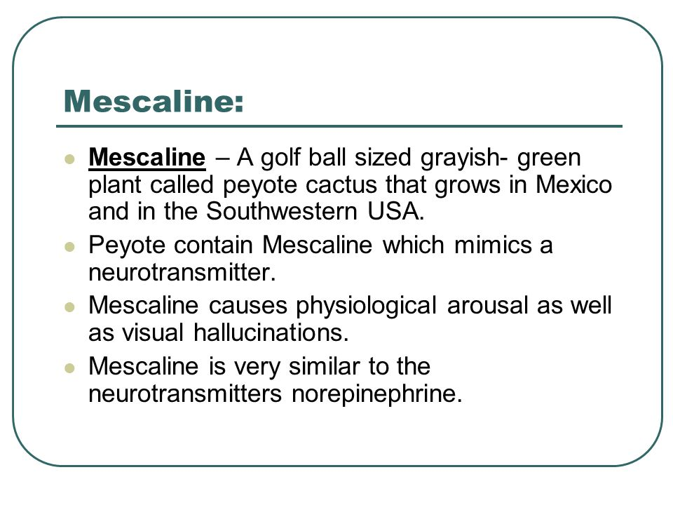 Mescaline: Mescaline – A golf ball sized grayish- green plant called peyote cactus that grows in Mexico and in the Southwestern USA.