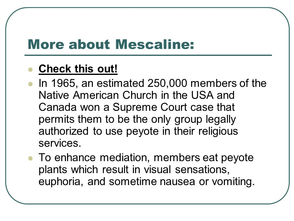 More about Mescaline: Check this out.