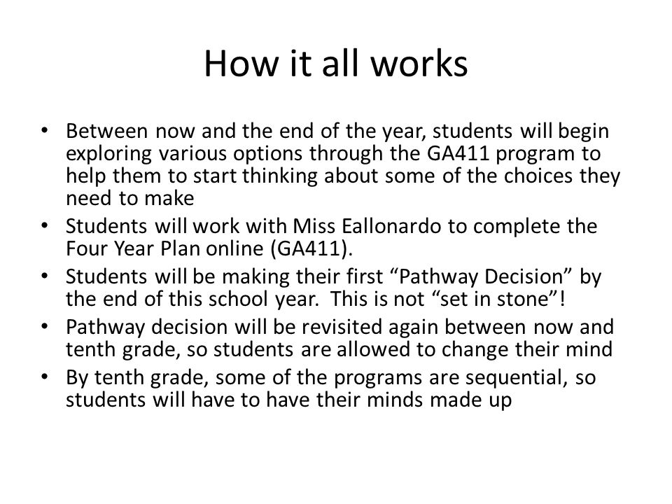 How it all works Between now and the end of the year, students will begin exploring various options through the GA411 program to help them to start thinking about some of the choices they need to make Students will work with Miss Eallonardo to complete the Four Year Plan online (GA411).