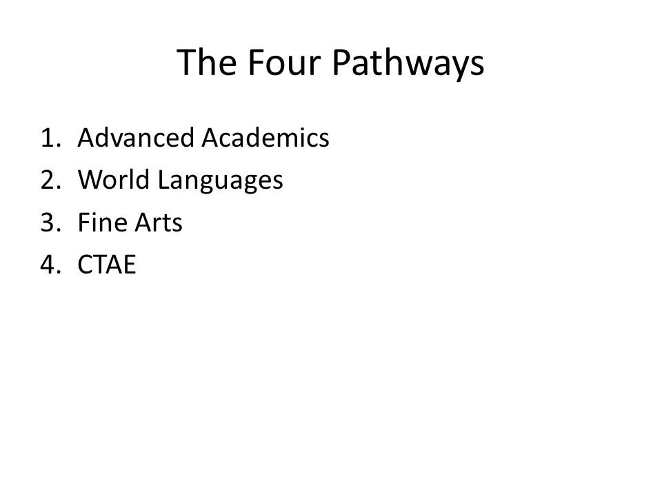 The Four Pathways 1.Advanced Academics 2.World Languages 3.Fine Arts 4.CTAE
