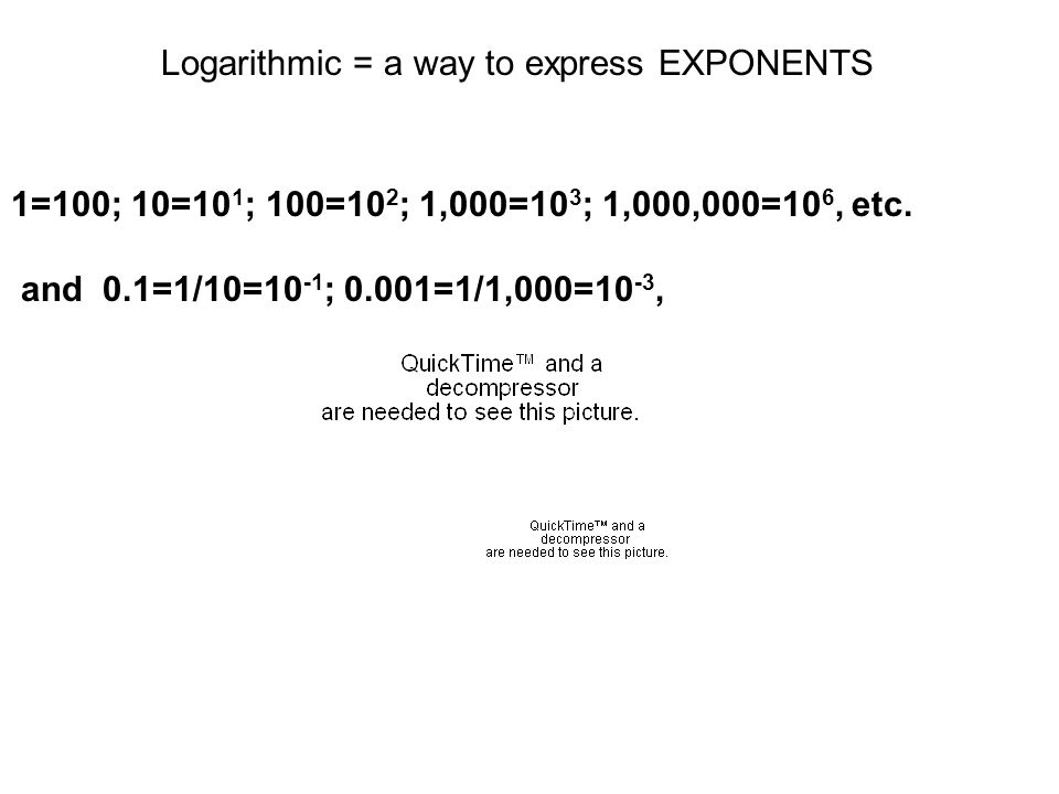 Logarithmic = a way to express EXPONENTS 1=100; 10=10 1 ; 100=10 2 ; 1,000=10 3 ; 1,000,000=10 6, etc.