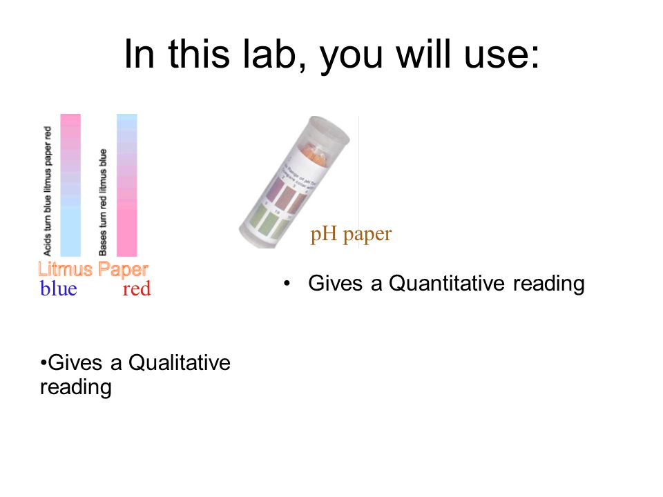In this lab, you will use: Gives a Quantitative reading pH paper bluered Gives a Qualitative reading