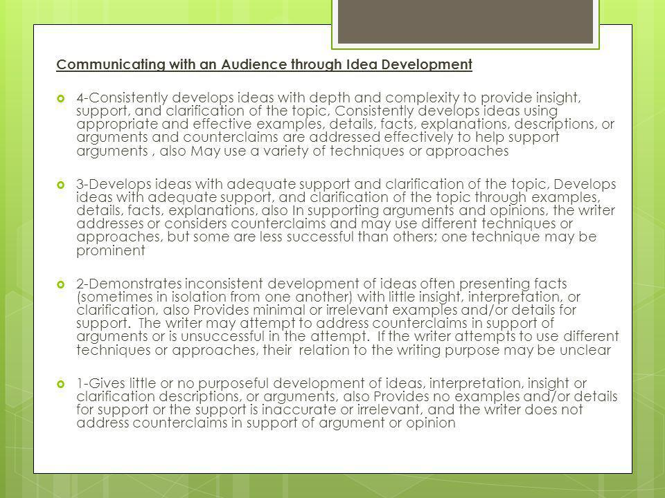 Communicating with an Audience through Idea Development  4-Consistently develops ideas with depth and complexity to provide insight, support, and clarification of the topic, Consistently develops ideas using appropriate and effective examples, details, facts, explanations, descriptions, or arguments and counterclaims are addressed effectively to help support arguments, also May use a variety of techniques or approaches  3-Develops ideas with adequate support and clarification of the topic, Develops ideas with adequate support, and clarification of the topic through examples, details, facts, explanations, also In supporting arguments and opinions, the writer addresses or considers counterclaims and may use different techniques or approaches, but some are less successful than others; one technique may be prominent  2-Demonstrates inconsistent development of ideas often presenting facts (sometimes in isolation from one another) with little insight, interpretation, or clarification, also Provides minimal or irrelevant examples and/or details for support.