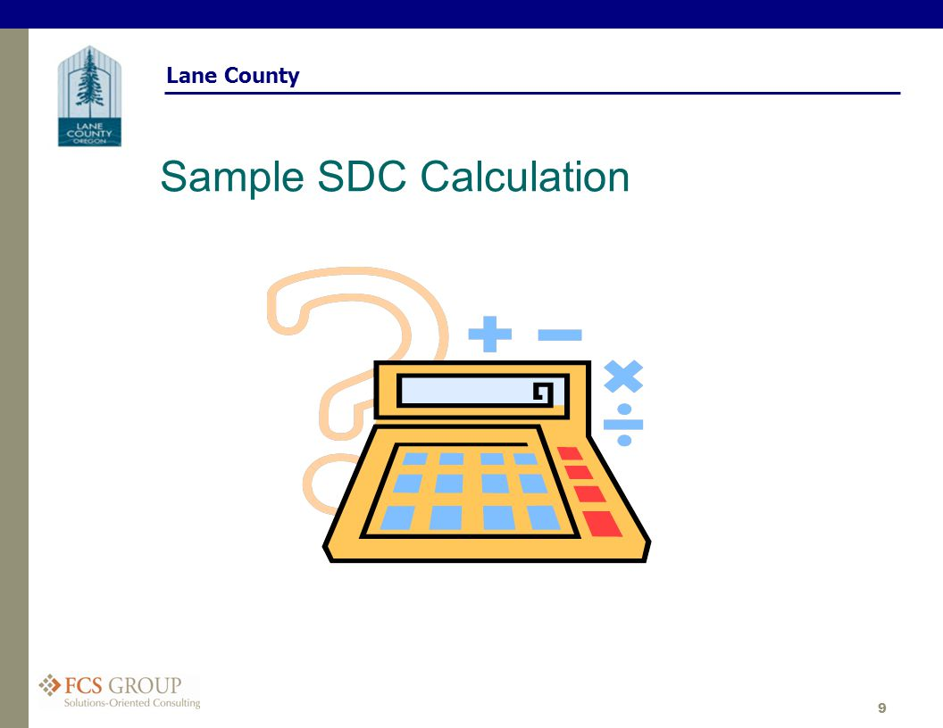 Lane County 9 Sample SDC Calculation