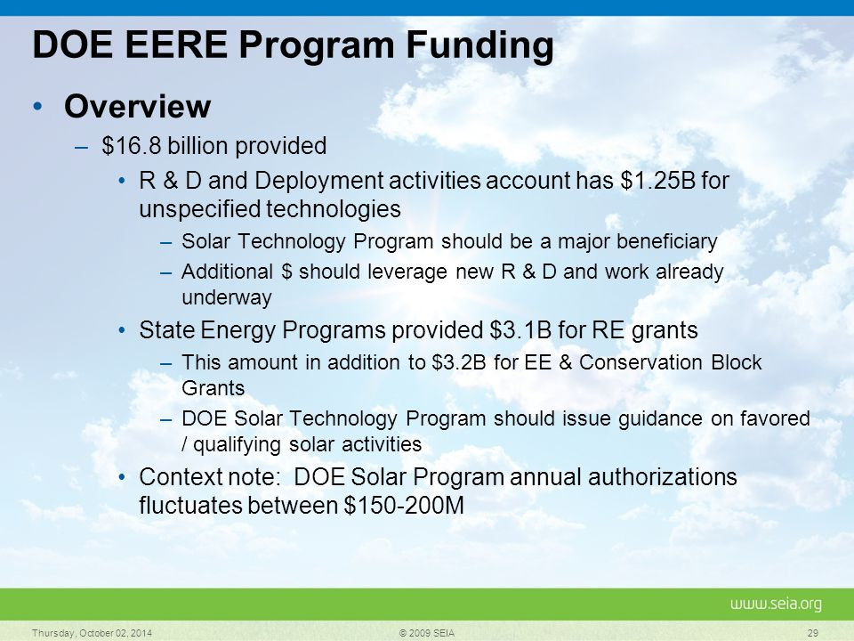 DOE EERE Program Funding Overview –$16.8 billion provided R & D and Deployment activities account has $1.25B for unspecified technologies –Solar Technology Program should be a major beneficiary –Additional $ should leverage new R & D and work already underway State Energy Programs provided $3.1B for RE grants –This amount in addition to $3.2B for EE & Conservation Block Grants –DOE Solar Technology Program should issue guidance on favored / qualifying solar activities Context note: DOE Solar Program annual authorizations fluctuates between $150-200M Thursday, October 02, 2014 © 2009 SEIA 29