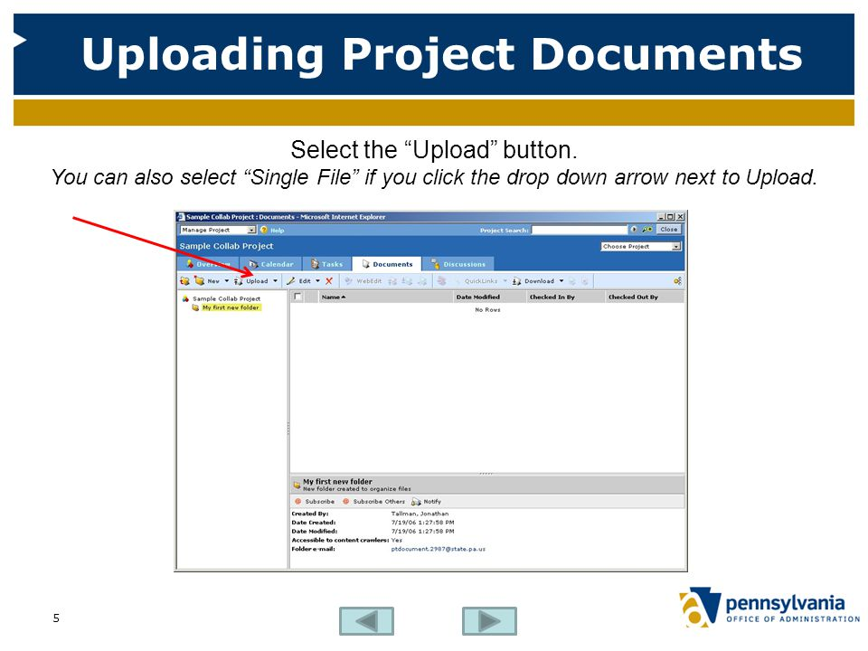 Uploading Project Documents Select the Upload button.