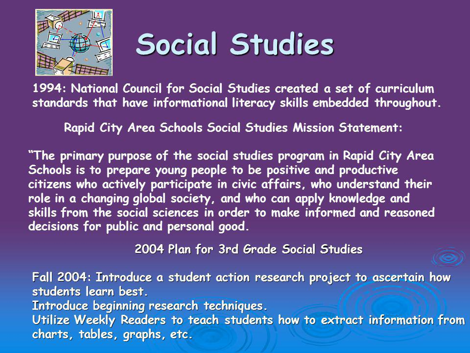 Social Studies 1994: National Council for Social Studies created a set of curriculum standards that have informational literacy skills embedded throughout.