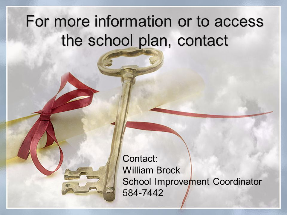 For more information or to access the school plan, contact Contact: William Brock School Improvement Coordinator 584-7442