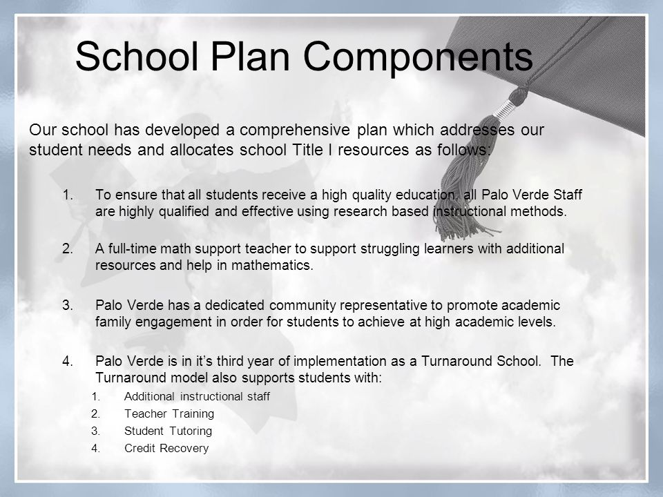 School Plan Components Our school has developed a comprehensive plan which addresses our student needs and allocates school Title I resources as follows: 1.To ensure that all students receive a high quality education, all Palo Verde Staff are highly qualified and effective using research based instructional methods.