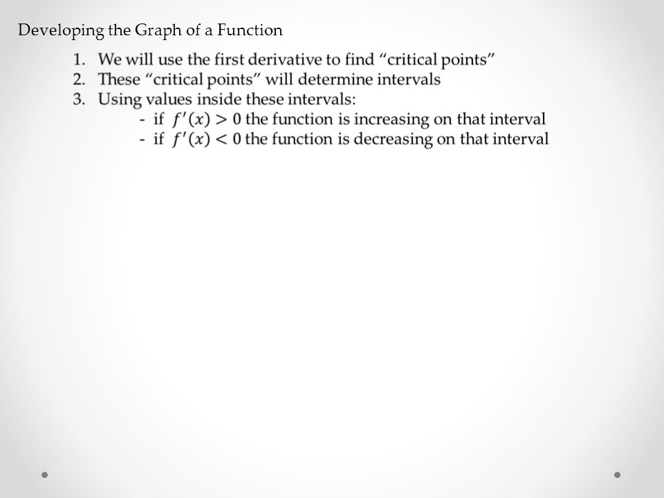 Developing the Graph of a Function