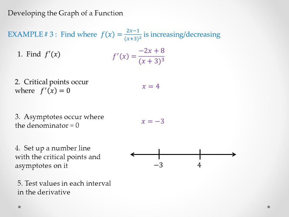 Developing the Graph of a Function 3. Asymptotes occur where the denominator = 0 4.