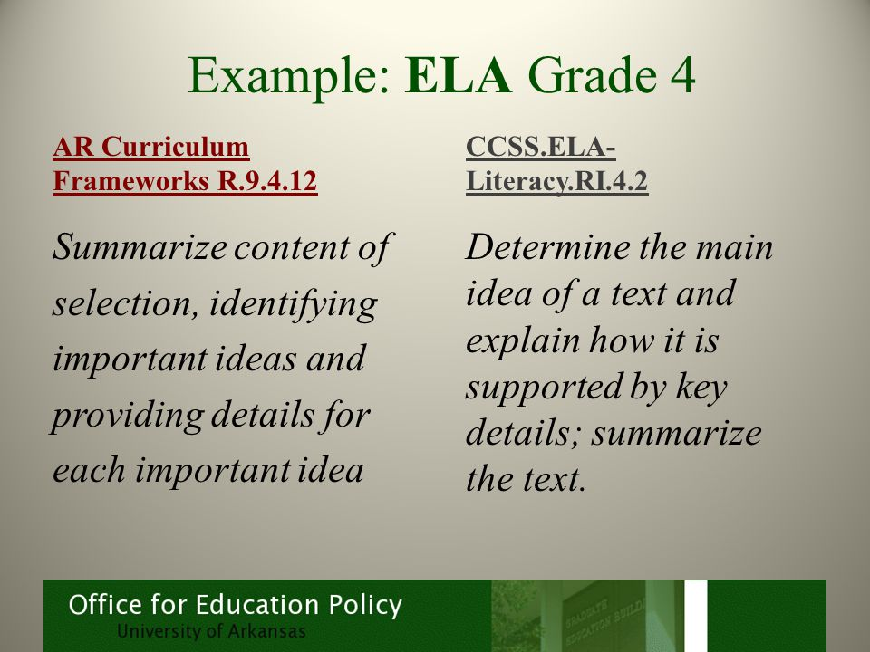 Example: ELA Grade 4 Summarize content of selection, identifying important ideas and providing details for each important idea Determine the main idea of a text and explain how it is supported by key details; summarize the text.