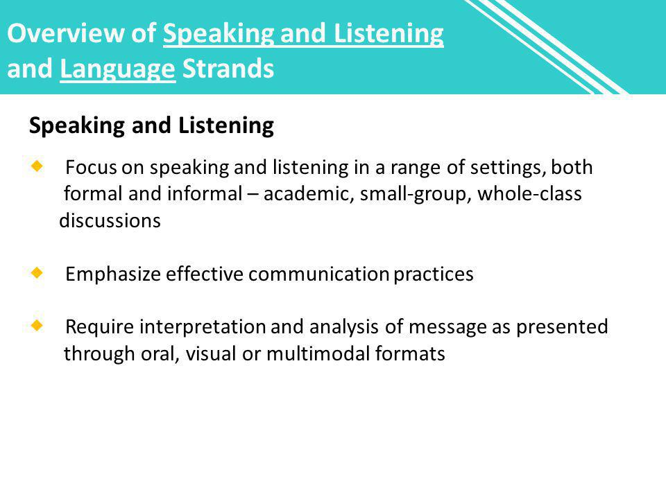 Overview of Speaking and Listening and Language Strands Speaking and Listening  Focus on speaking and listening in a range of settings, both formal and informal – academic, small-group, whole-class discussions  Emphasize effective communication practices  Require interpretation and analysis of message as presented through oral, visual or multimodal formats