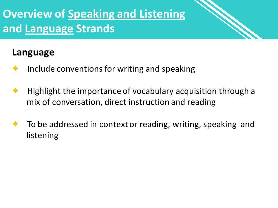Overview of Speaking and Listening and Language Strands Language  Include conventions for writing and speaking  Highlight the importance of vocabulary acquisition through a mix of conversation, direct instruction and reading  To be addressed in context or reading, writing, speaking and listening