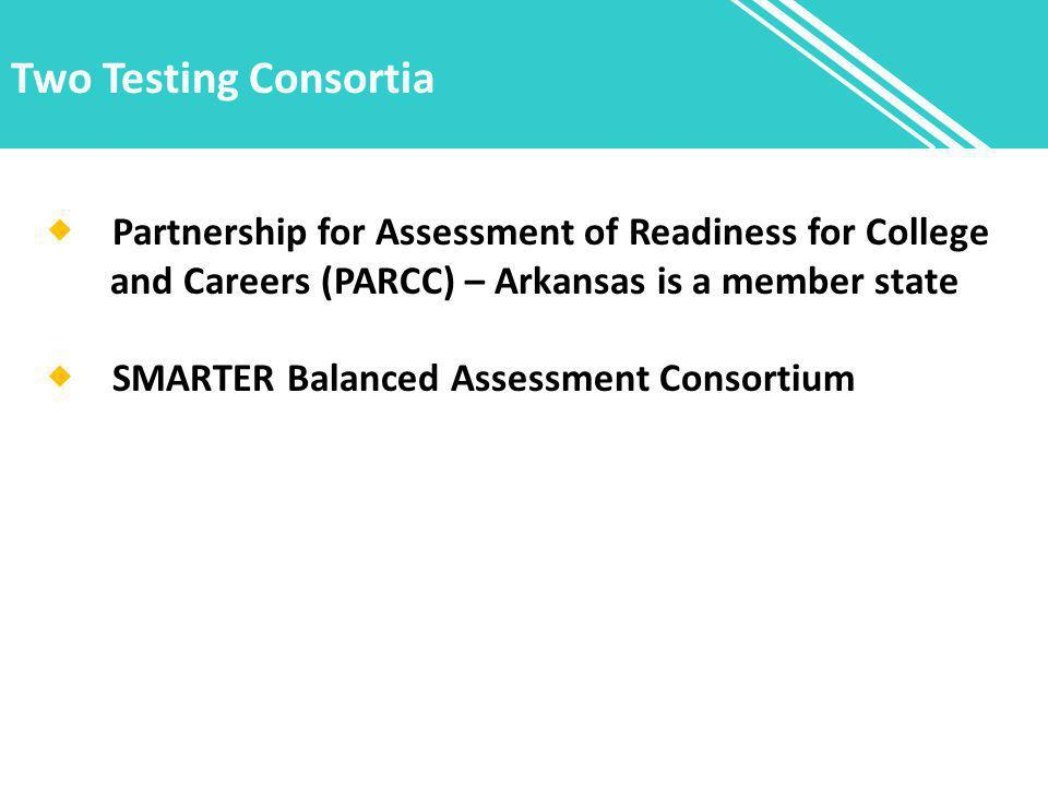Two Testing Consortia  Partnership for Assessment of Readiness for College and Careers (PARCC) – Arkansas is a member state  SMARTER Balanced Assessment Consortium