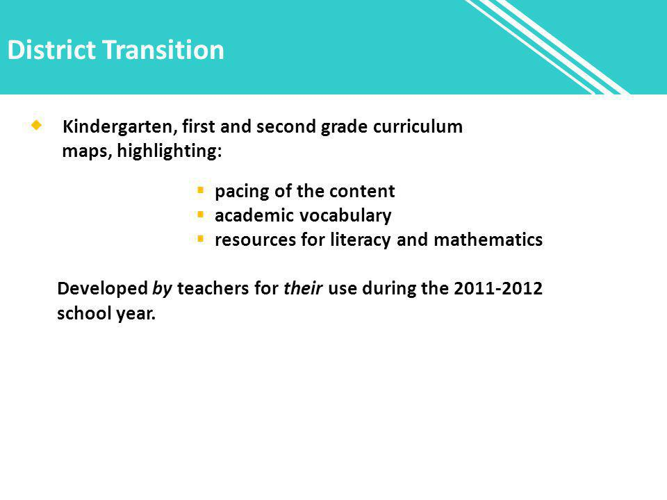 District Transition  Kindergarten, first and second grade curriculum maps, highlighting:  pacing of the content  academic vocabulary  resources for literacy and mathematics Developed by teachers for their use during the school year.