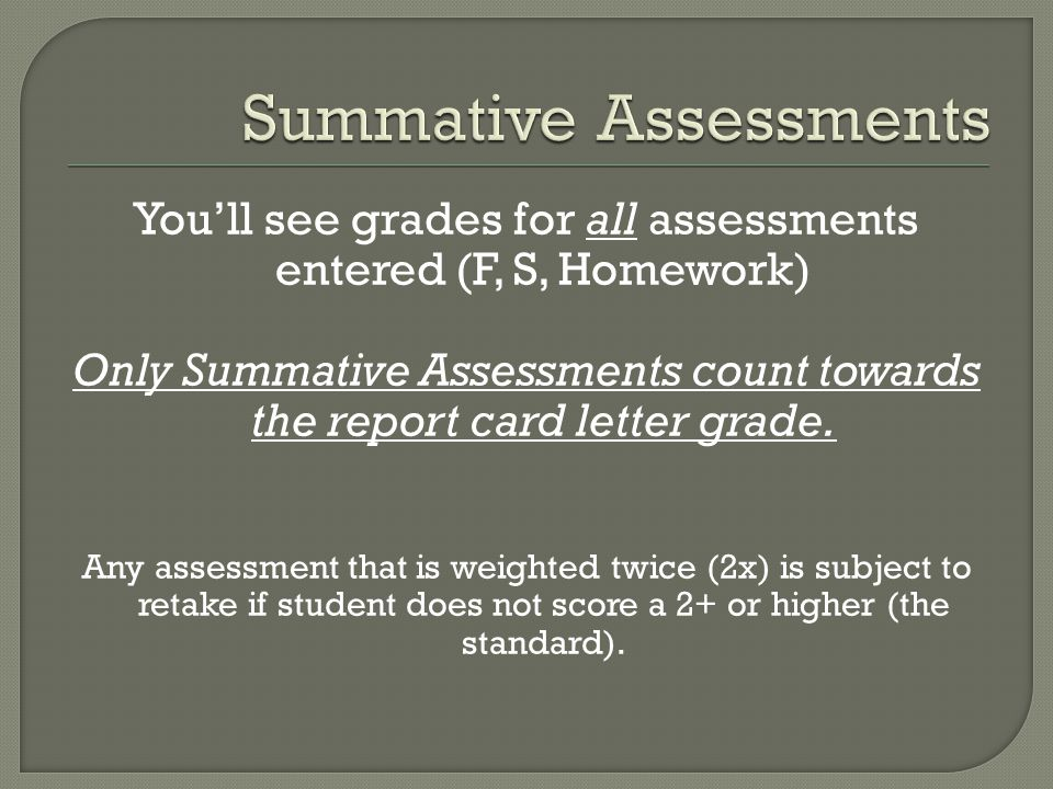 You'll see grades for all assessments entered (F, S, Homework) Only Summative Assessments count towards the report card letter grade.