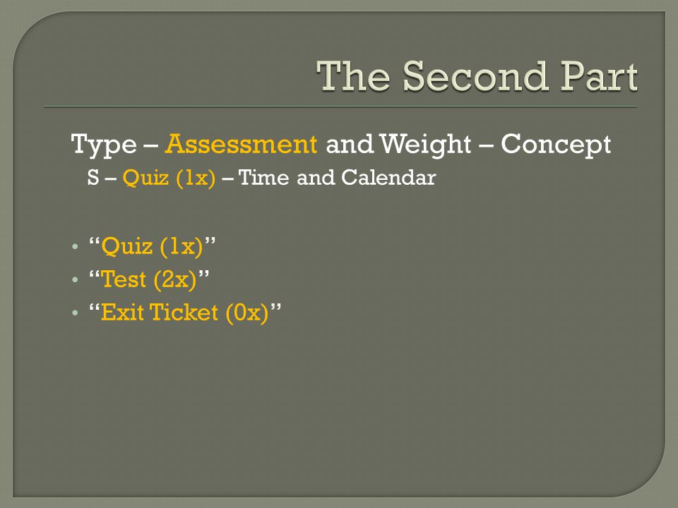 Type – Assessment and Weight – Concept S – Quiz (1x) – Time and Calendar Quiz (1x) Test (2x) Exit Ticket (0x)