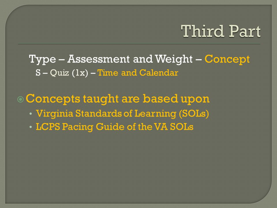 Type – Assessment and Weight – Concept S – Quiz (1x) – Time and Calendar  Concepts taught are based upon Virginia Standards of Learning (SOLs) LCPS Pacing Guide of the VA SOLs