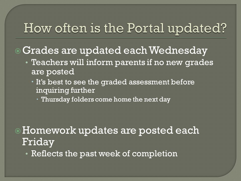  Grades are updated each Wednesday Teachers will inform parents if no new grades are posted  It's best to see the graded assessment before inquiring further  Thursday folders come home the next day  Homework updates are posted each Friday Reflects the past week of completion
