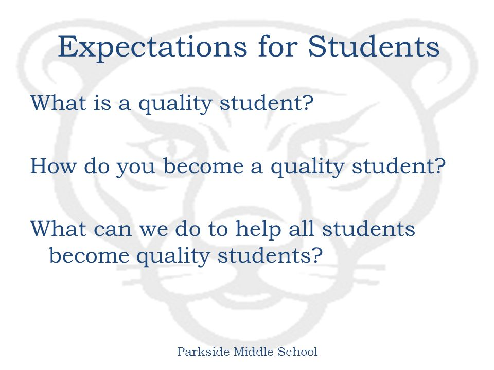 Parkside Middle School Expectations for Students What is a quality student.