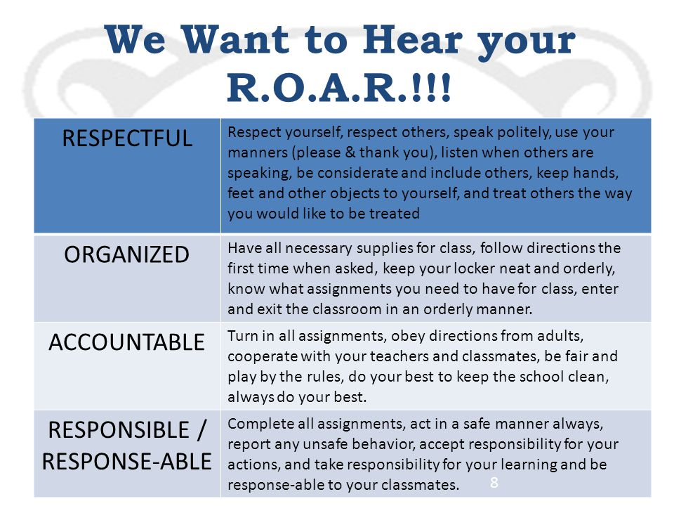Parkside Middle School We Want to Hear your R.O.A.R.!!.