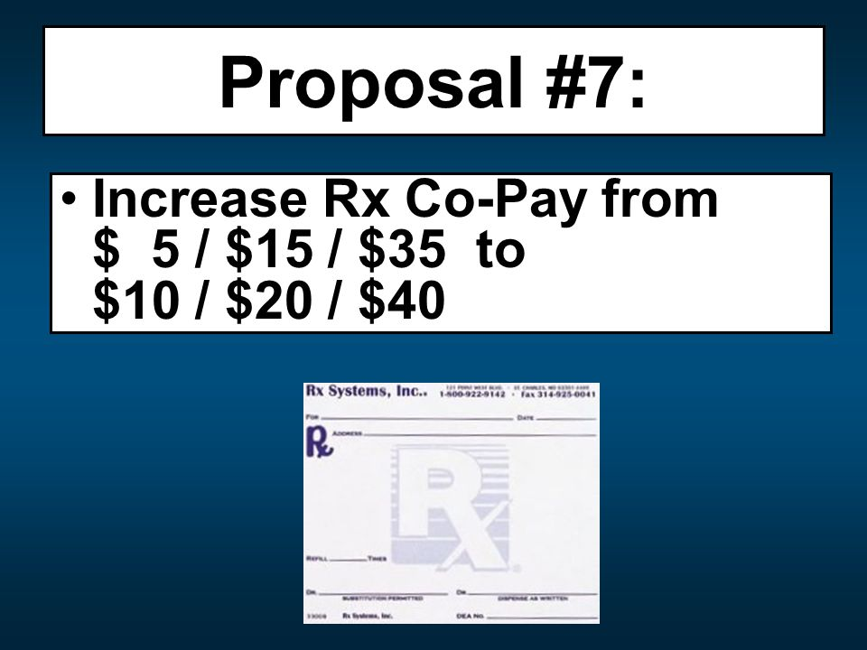 Proposal #7: Increase Rx Co-Pay from $ 5 / $15 / $35 to $10 / $20 / $40
