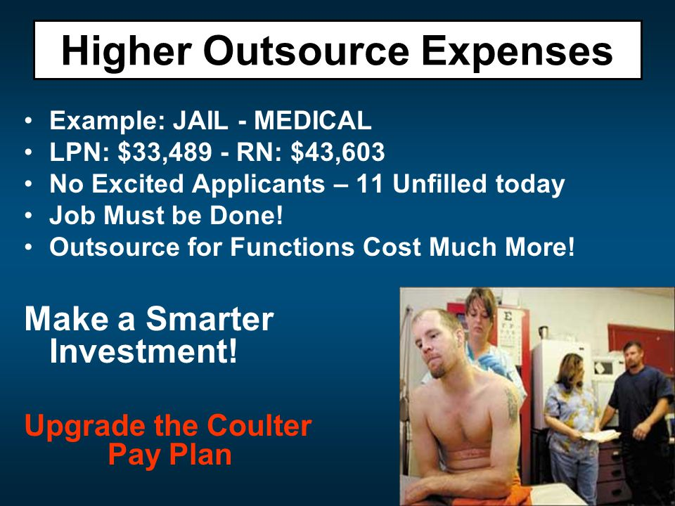 Example: JAIL - MEDICAL LPN: $33,489 - RN: $43,603 No Excited Applicants – 11 Unfilled today Job Must be Done.
