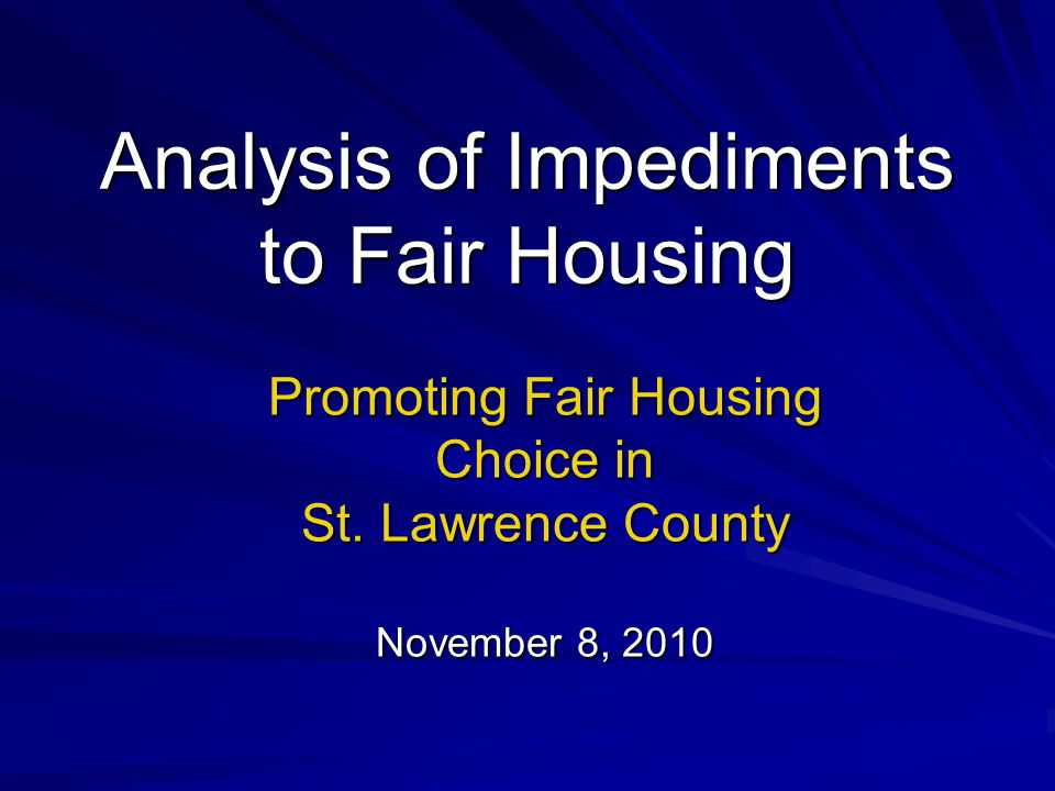 Analysis of Impediments to Fair Housing Promoting Fair Housing Choice in St.