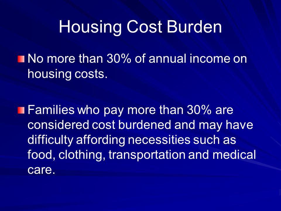 Housing Cost Burden No more than 30% of annual income on housing costs.