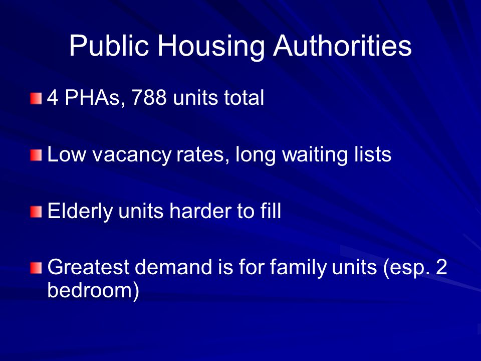 Public Housing Authorities 4 PHAs, 788 units total Low vacancy rates, long waiting lists Elderly units harder to fill Greatest demand is for family units (esp.