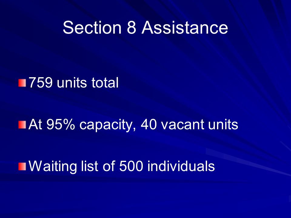 Section 8 Assistance 759 units total At 95% capacity, 40 vacant units Waiting list of 500 individuals