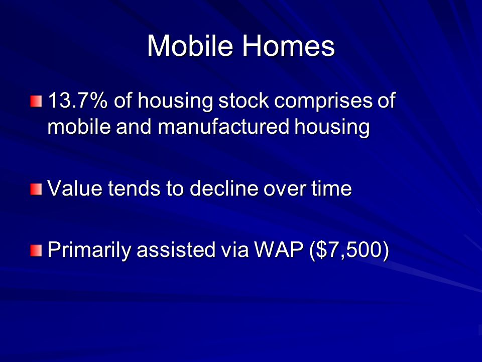 Mobile Homes 13.7% of housing stock comprises of mobile and manufactured housing Value tends to decline over time Primarily assisted via WAP ($7,500)