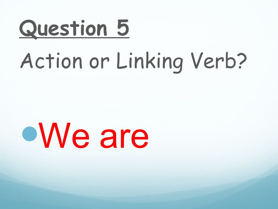 Question 5 Action or Linking Verb We are