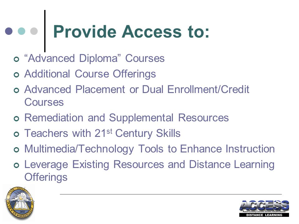 Provide Access to: Advanced Diploma Courses Additional Course Offerings Advanced Placement or Dual Enrollment/Credit Courses Remediation and Supplemental Resources Teachers with 21 st Century Skills Multimedia/Technology Tools to Enhance Instruction Leverage Existing Resources and Distance Learning Offerings