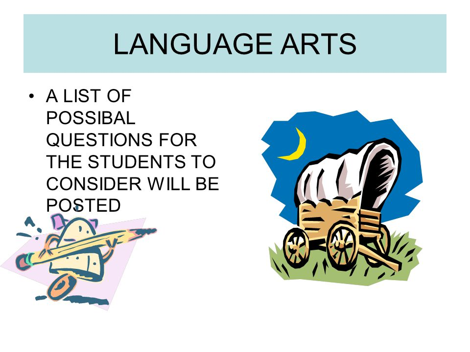 LANGUAGE ARTS A LIST OF POSSIBAL QUESTIONS FOR THE STUDENTS TO CONSIDER WILL BE POSTED
