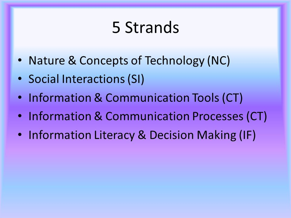 5 Strands Nature & Concepts of Technology (NC) Social Interactions (SI) Information & Communication Tools (CT) Information & Communication Processes (CT) Information Literacy & Decision Making (IF)
