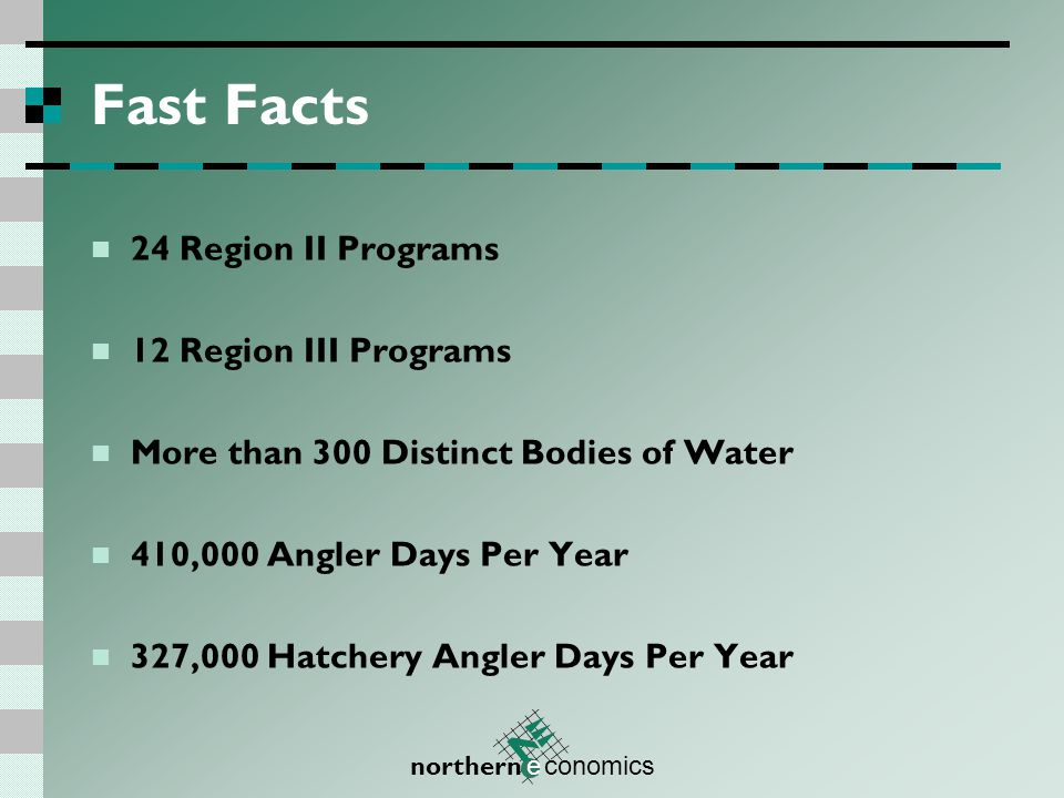 northern e conomics Fast Facts 24 Region II Programs 12 Region III Programs More than 300 Distinct Bodies of Water 410,000 Angler Days Per Year 327,000 Hatchery Angler Days Per Year
