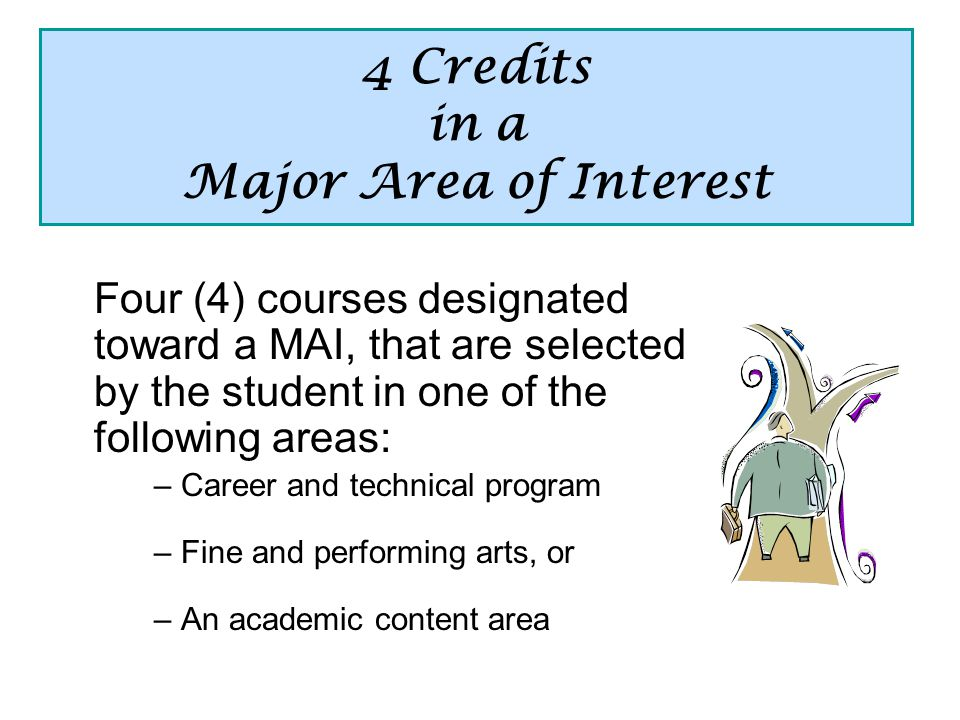 4 Credits in a Major Area of Interest Four (4) courses designated toward a MAI, that are selected by the student in one of the following areas: – Career and technical program – Fine and performing arts, or – An academic content area