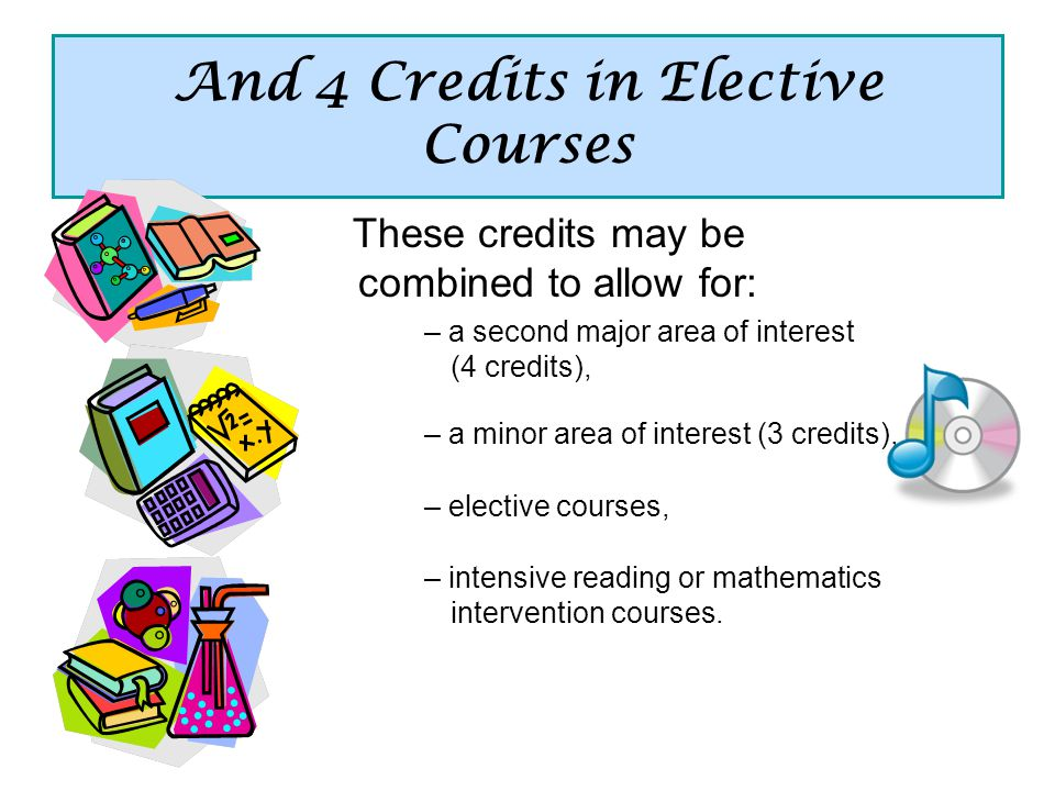 And 4 Credits in Elective Courses These credits may be combined to allow for: – a second major area of interest (4 credits), – a minor area of interest (3 credits), – elective courses, – intensive reading or mathematics intervention courses.