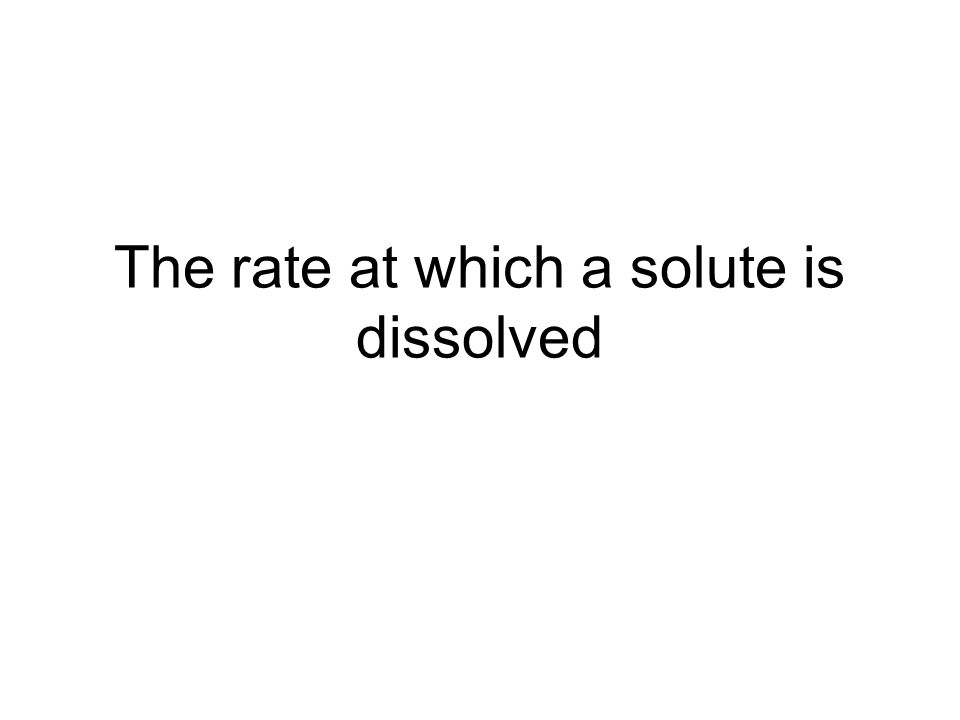 The rate at which a solute is dissolved