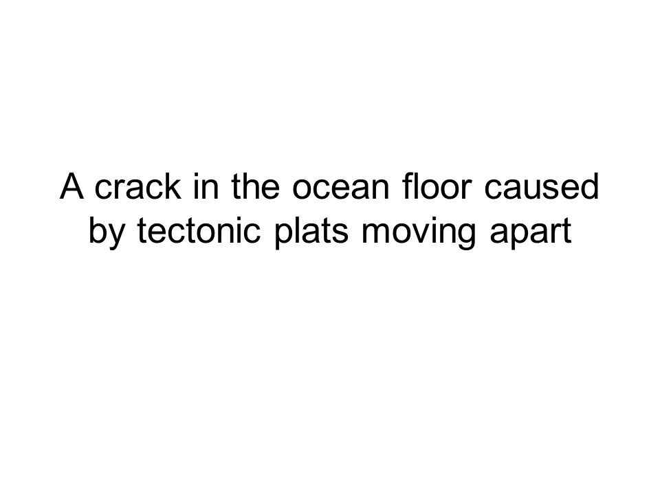 A crack in the ocean floor caused by tectonic plats moving apart