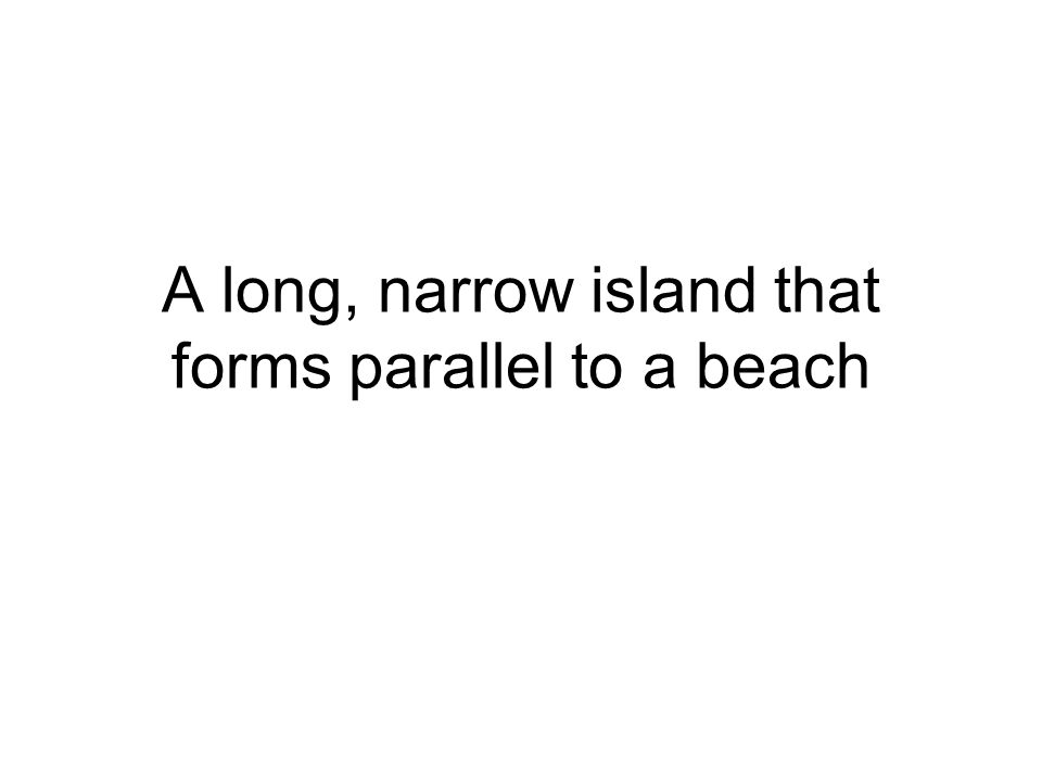 A long, narrow island that forms parallel to a beach