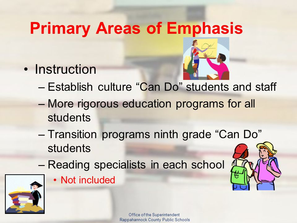 Primary Areas of Emphasis Instruction –Establish culture Can Do students and staff –More rigorous education programs for all students –Transition programs ninth grade Can Do students –Reading specialists in each school Not included Office of the Superintendent Rappahannock County Public Schools
