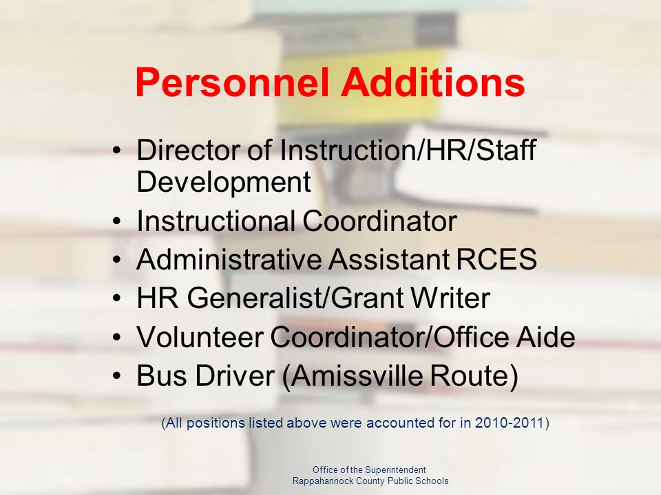 Personnel Additions Director of Instruction/HR/Staff Development Instructional Coordinator Administrative Assistant RCES HR Generalist/Grant Writer Volunteer Coordinator/Office Aide Bus Driver (Amissville Route) (All positions listed above were accounted for in 2010-2011) Office of the Superintendent Rappahannock County Public Schools